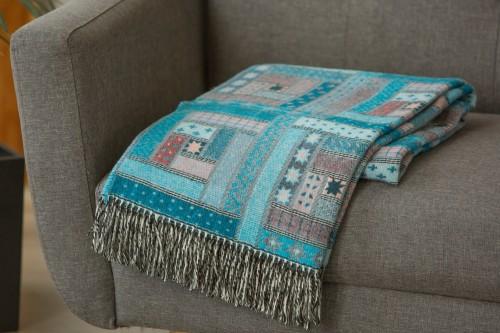 Merino wool blanket throw TURQUOISE