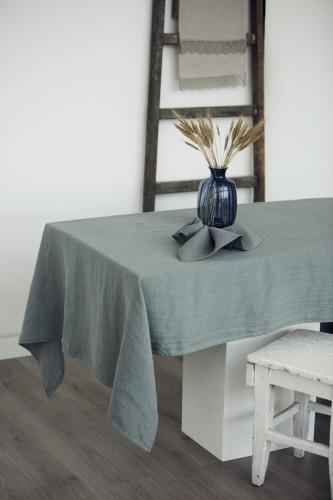Linen table cloth STONE BLUE