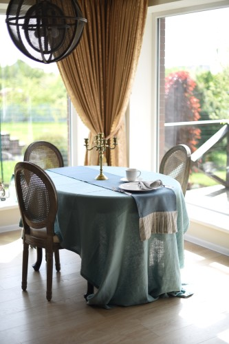 Linen table cloth TURQUOISE
