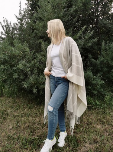 Soft and cozy wool poncho Striped